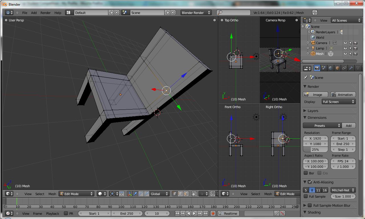 First time using blender azerdark for 3d logiciel