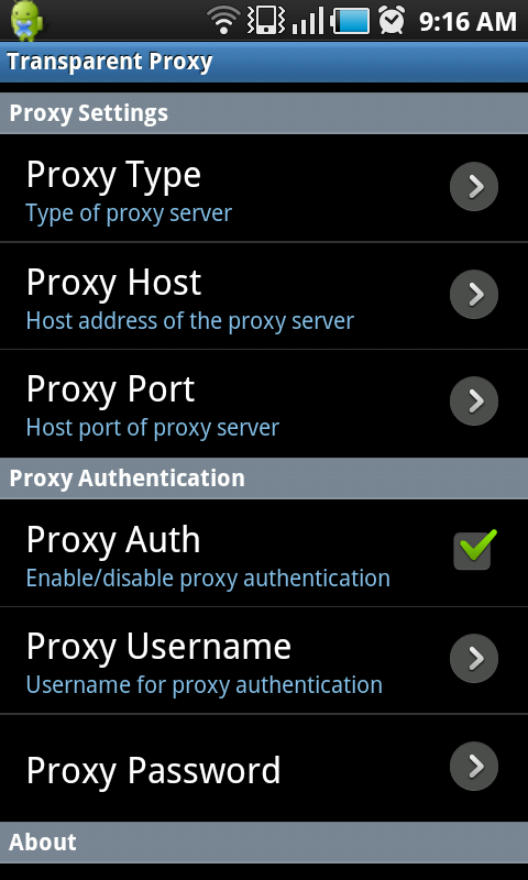 Android Proxy Authentication Via TransProxy | Azerdark